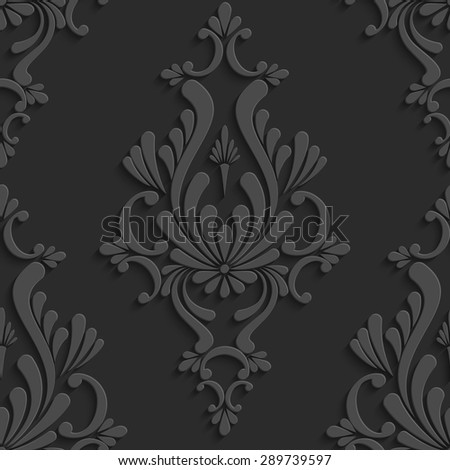 Black Floral Damask 3d Seamless Pattern. Vector Background. Decoration For Wallpaper or Invitation Card - stock vector