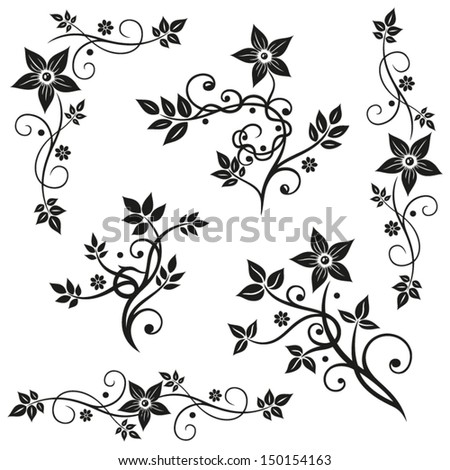 Black flowers vector set, leaves - stock vector