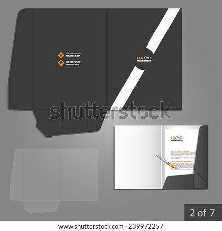 Black folder template design for company with white diagonal line. Element of stationery. - stock vector