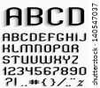 Black font with shadow, numbers and punctuation marks. Vector set - stock vector