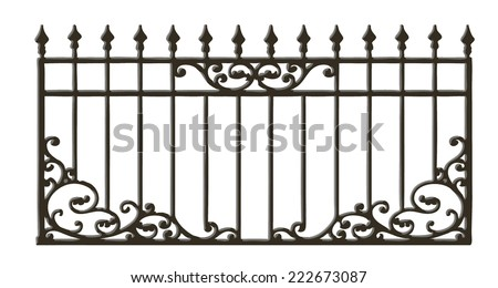 Black forged decorative lattice isolated on white background, vector illustration  - stock vector
