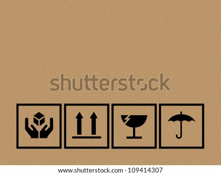 Black fragile symbol on cardboard - Vector - stock vector