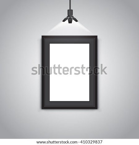 Black frame on a wall background - stock vector