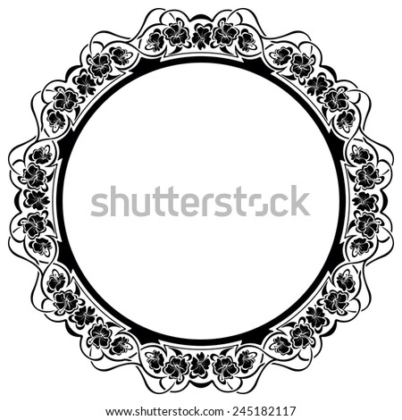 Black frame with ornamental border with flower - stock vector