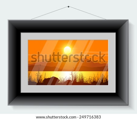 Black frame with the picture of landscape isolated on grey background. Vector illustration. - stock vector