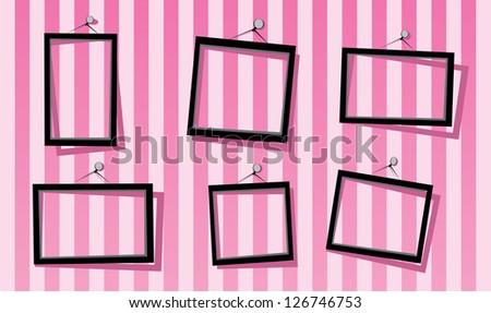 black frames on the pink striped wall. vector illustration. cut paper design frame. girls scrapbook design. - stock vector