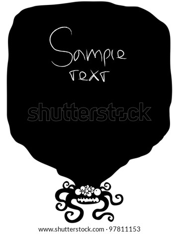 Black framework with the monster. Sample text - stock vector