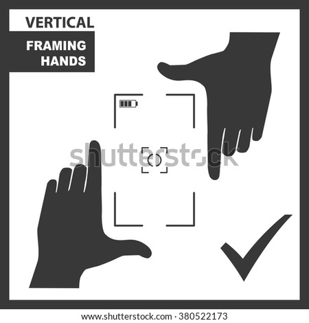 Black framing hands as a vertical template for design. Hand frame made from fingers. Vector perspective view illustration. - stock vector