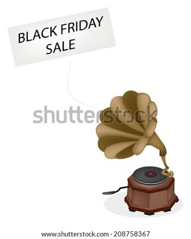 Black Friday, A Golden Gramophone or Turntable Broadcasting Black Friday News, Sign for Start Christmas Shopping Season.  - stock vector