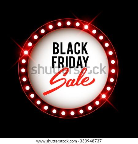 Black Friday advertising banner, retro shiny lights label, vector illustration - stock vector
