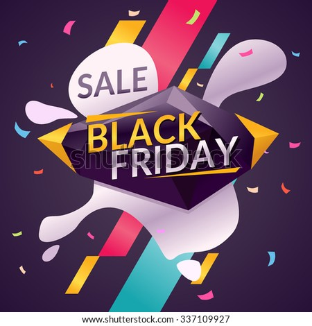 Black friday. Big sales. Trendy, modern poster to advertise your goods. Vector illustration. - stock vector