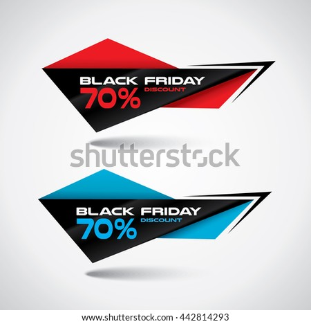 Black Friday bubbles in origami style with high contrast vibrant colors - stock vector