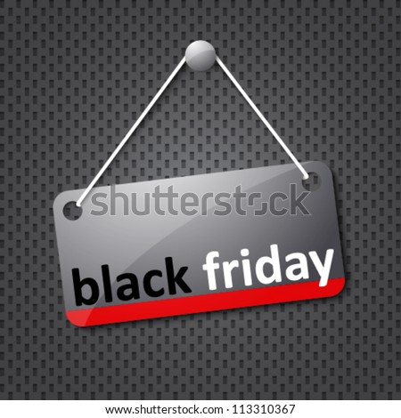 black friday hanging sign - stock vector