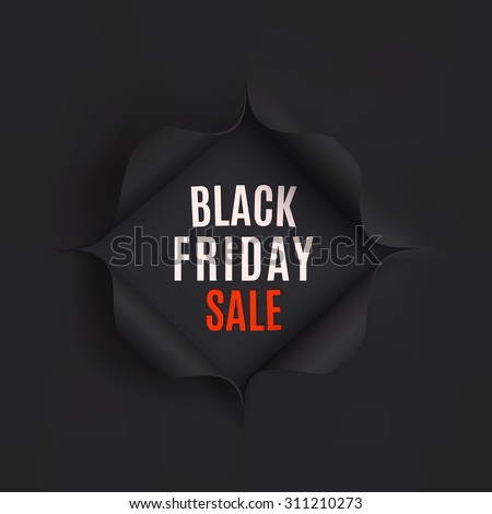 Black Friday sale background. Hole in black paper. Vector illustration. - stock vector