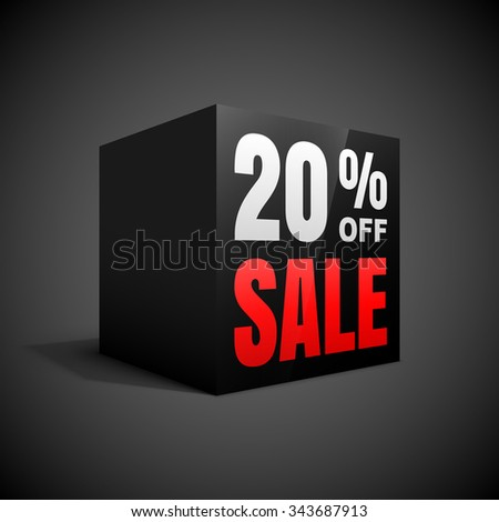 Black friday sale black cube 20 percent discount. - stock vector