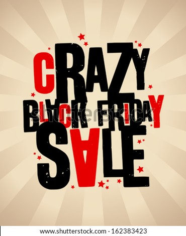 Black friday sale crazy banner. - stock vector
