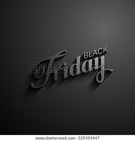 Black Friday Sale label with long shadows. Promotional banner template with lettering composition - stock vector