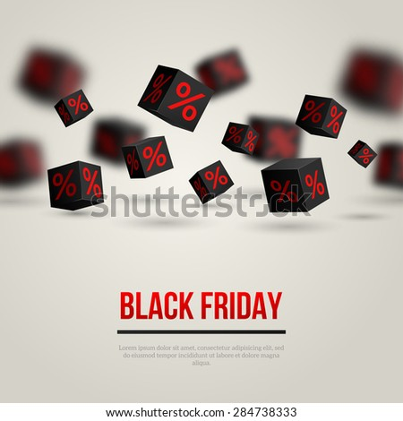 Black Friday Sale Poster. Vector Illustration. Design Template for Holiday Sale Event. 3d Black Cubes with Percents. Original Festive Backdrop. - stock vector