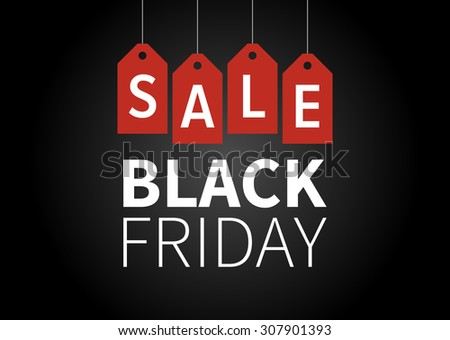 Black Friday sale promotion display poster / postcard - stock vector