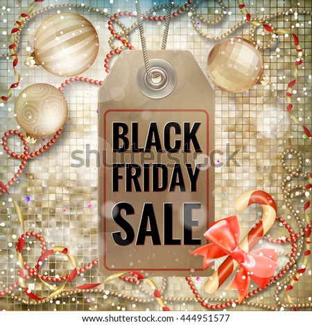 Black Friday sale realistic tag on Christmas background with snow. EPS 10 vector file included - stock vector