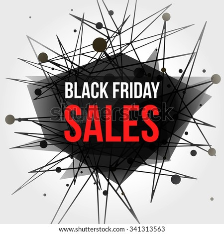 Black Friday Sales Banner with Dots and Lines. Connection Concept. Digital data visualization. Social network graphic concept. Geometric technology vector background. - stock vector