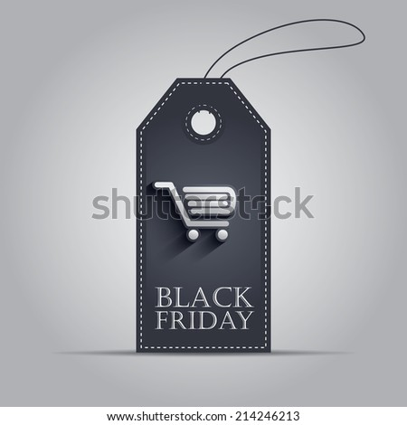 Black Friday sales shopping price tag with shopping items symbols. Eps10 vector illustration. - stock vector