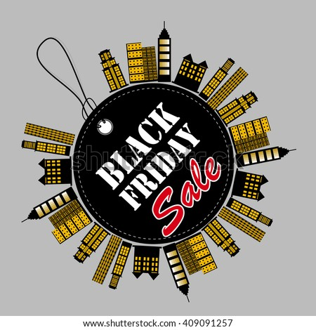 Black Friday sales tag on building background vector - stock vector