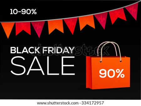 Black Friday shopping bag and sales garland marketing template. Poster Sale.Typography. - stock vector