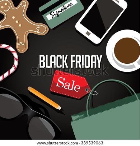 Black Friday shopping bag and sales tag flat design marketing scene. EPS 10 vector royalty free illustration. - stock vector