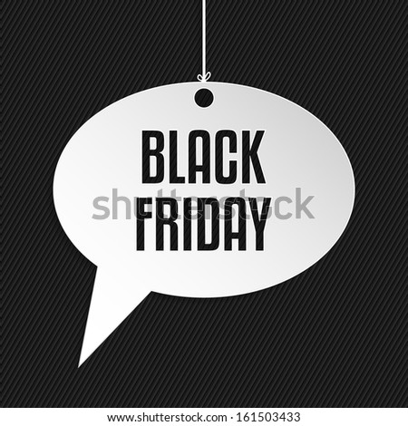Black friday speech bubble hanging by rope on striped background - stock vector