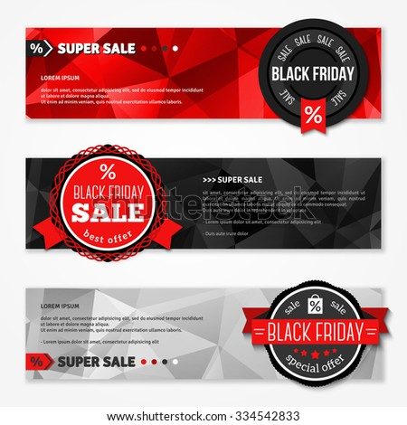 Black Friday Total Sale Horizontal Banners Set. Vector illustration. Triangles Polygonal Pattern. Sale Badges with Ribbons. Place for Promotional Text, Typographic Template - stock vector