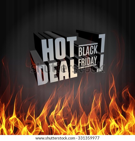 Black Friday vector label template for advertising sale print with hot fire and flame - stock vector