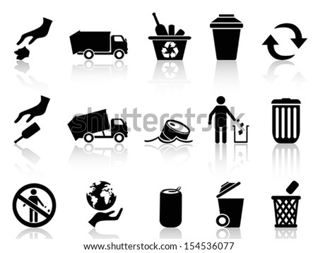 black garbage icons set - stock vector