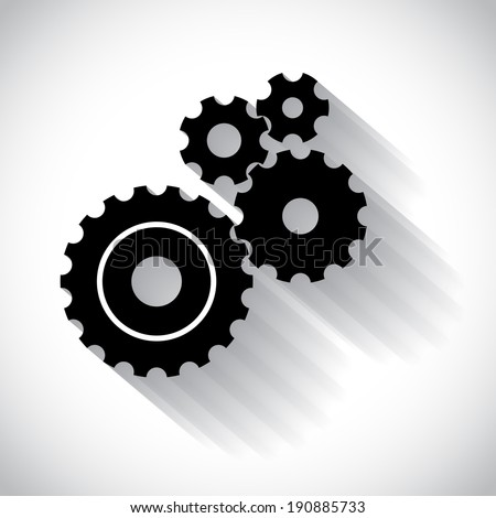 Black gears casting shadow, vector - stock vector