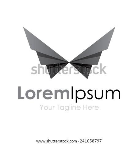 Black geometric wings bird element icons business logo  - stock vector