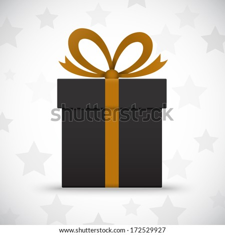 Black gift box on white background with stars. Vector illustration - stock vector