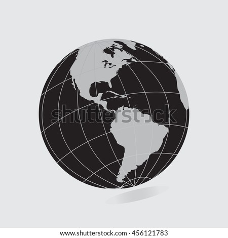 Black Globe icon with  map of the continents of the world. Earth icon, Earth icon eps10, Earth icon vector, Earth icon eps, Earth icon flat,  Earth icon web, Earth icon art, Earth icon, Earth icon - stock vector