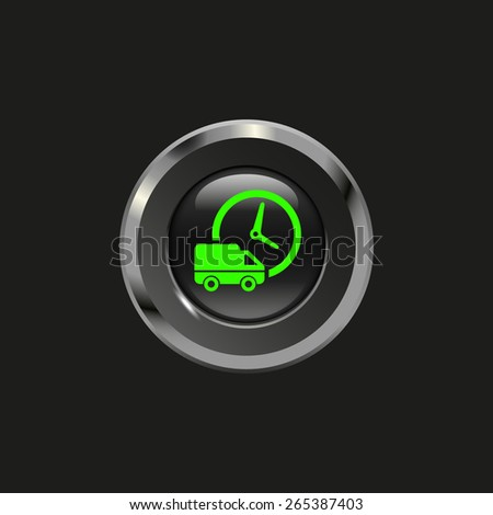 Black glossy button with metallic elements and icon car and clock (delivery), on black background, vector design for website - stock vector