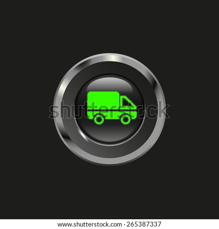 Black glossy button with metallic elements and icon car (delivery), on black background, vector design for website - stock vector
