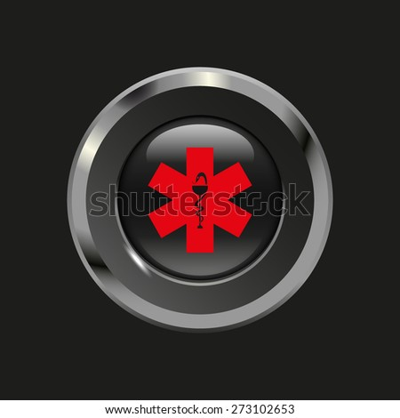 Black glossy button with metallic elements and red icon ambulance, on black background, vector design website - stock vector