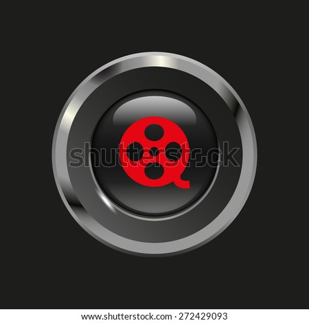 Black glossy button with metallic elements and red icon motion picture film reel, on black background, vector design website - stock vector