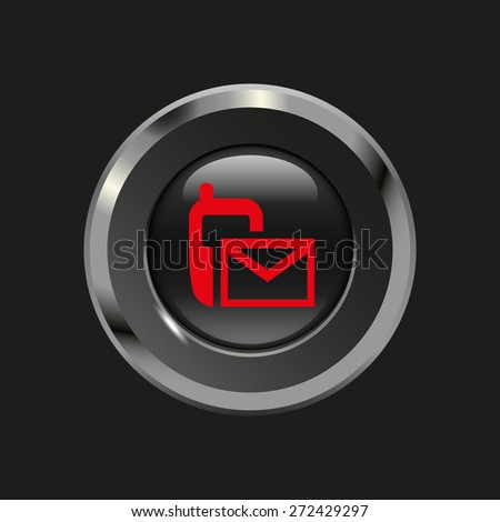 Black glossy button with metallic elements and red icon sms (mms), on black background, vector design website - stock vector