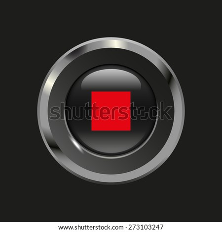 Black glossy button with metallic elements and red icon stop audio, on black background, vector design website - stock vector