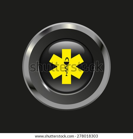 Black glossy button with metallic elements and yellow icon ambulance, on black background, vector design website - stock vector