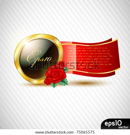 Black glossy label with red ribbon - stock vector