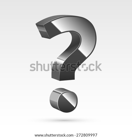 Black glossy realistic question mark sign. Vector illustration - stock vector