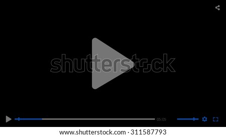 Black glossy video movie media player template on black background, vector eps10 illustration. Video player flat design template for web and mobile apps. Buttons, bar, screen, menu, tune slider. - stock vector