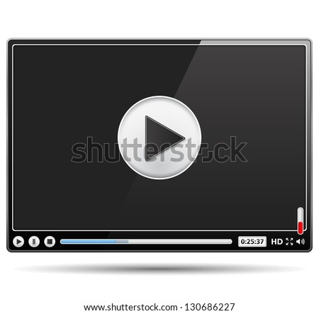 Black glossy video player template on white background, vector eps10 illustration - stock vector
