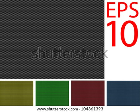 Black, Gold, Green, Red and Blue Backgrounds of Carbon Fibre texture - stock vector
