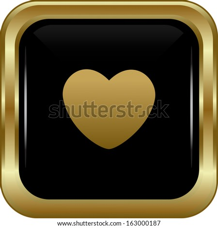 Black gold heart icon. Abstract vector illustration. - stock vector